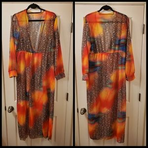 WILDER PRINTED  LEOPARD SHEER DRESS/COVER UP